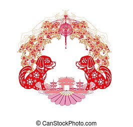 chinesisches , rahmen, -, hund, jahr, tierkreis