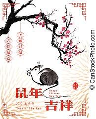 chinesisches , ratte, jahr, jahreswechsel