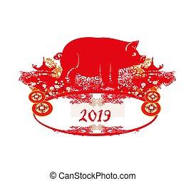 chinesisches , -, schwein, 2019, jahr, neu , banner, glücklich