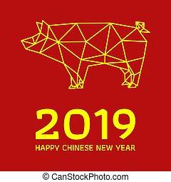 chinesisches , schwein, polygonal, design, jahr, neu