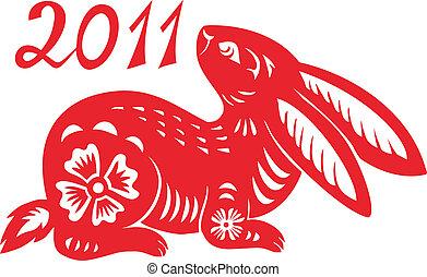 chinesisches , tierkreis, von, kanninchen, year.