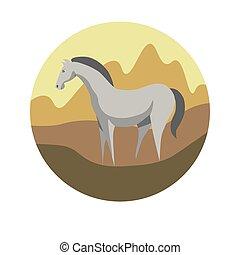 chinesisches , tierkreis, zeichen, pferd, vektor, horoskop, ikone, oder, symbol
