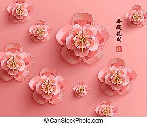 chinesisches , vektor, orientalische , jahr, neu , glücklich