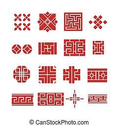 chinesisches , verzierung, ikone, satz