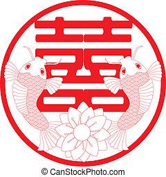 chinesisches , wedding, doppelgänger, glück, fische, paar