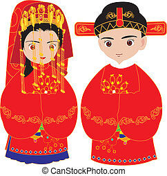 chinesisches , wedding, zeremonie