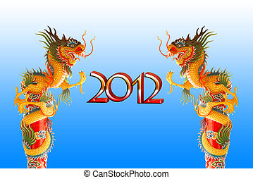 Chiness dragon background for year 2012, with clipping path