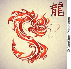 chinesse, 入れ墨, 象形文字, ドラゴン