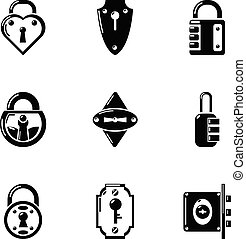 Chink icons set, simple style - Chink icons set. Simple set...