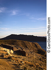 Chinkana Ruins on Isla del Sol (Island of the Sun) in Lake Titicaca, Bolivia