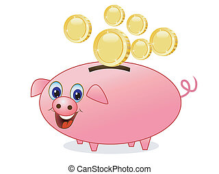 chinks fall in a pig money-box