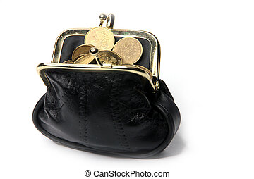 metallic rouble and black leather purse