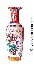 chino, antigüedad, florero, aislado, en, el, fondo blanco