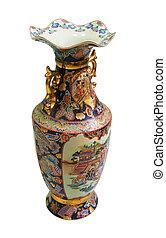 chino, antigüedad, porcelana, florero