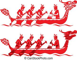 chino, barco, competición, dragón