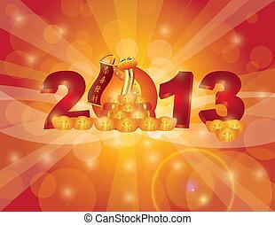 chino, bokeh, serpiente, año, nuevo, 2013