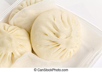 chino, bollo, cocido al vapor