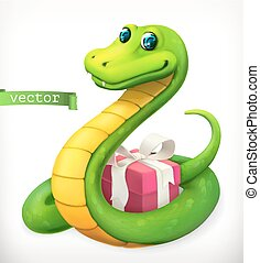 chino, calendar., zodíaco, vector, animal, serpiente, 3d, icono