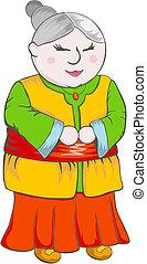 chino, caricatura, abuela