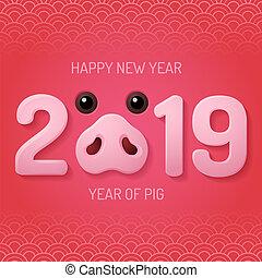 chino, cerdo, hocico, 2019, año, nuevo