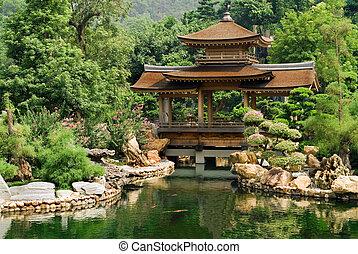 chino, charca, casa, tradicional