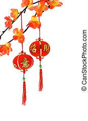 chino, ciruela, linternas, flores, año, nuevo