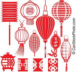 chino, colección, linterna
