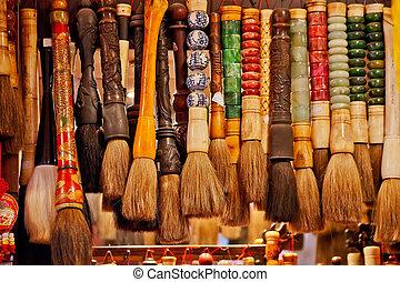 chino, colorido, cepillos, recuerdo, china, beijing, tinta