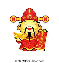 chino, dios, de, prosperidad