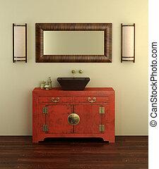 chino, estilo, cuarto de baño, interior