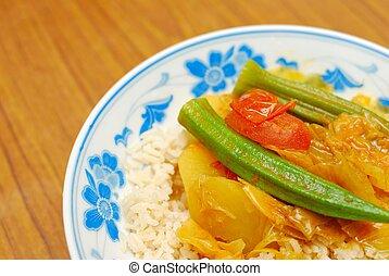 chino, estilo, vegetariano, curry