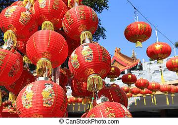 chino, fiesta, año, linternas, durante, nuevo