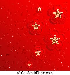 chino, flor, cereza, oriental, plano de fondo, año, nuevo