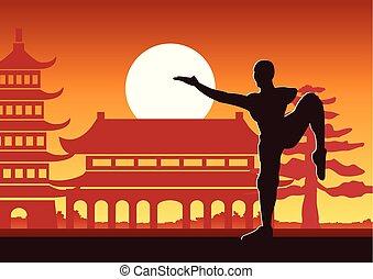 chino, fu, boxeo, kung
