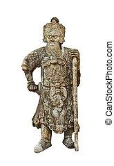chino, guerrero, estatuas