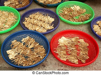chino, hierbas, secado, en el sol