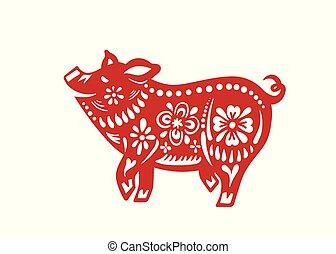 chino, ilustración, cerdo, vector, año, nuevo, celebration., feliz