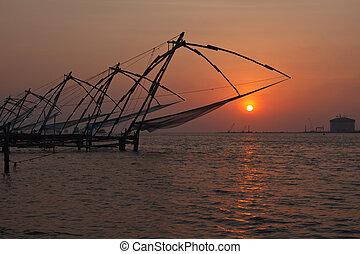 chino, kerala, india, fishnets, kochi, sunset.