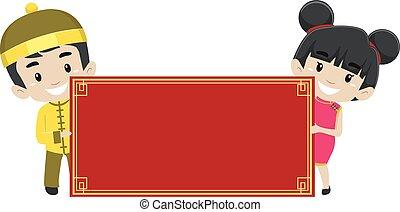chino, niños, tenencia, un, blanco, bandera