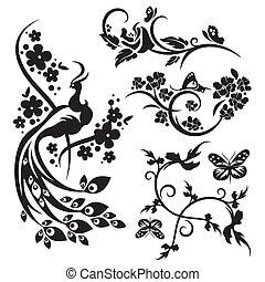 chino, ornamento, conjuntos
