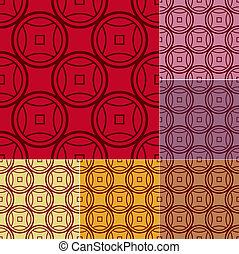 chino, patrón, coins, seamless
