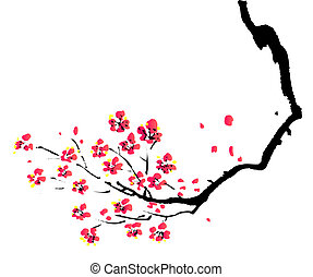 chino, pintura, de, ciruela