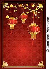 chino, plantilla, linterna