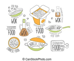 chino, promo, etiquetas, colección, wok, tallarines