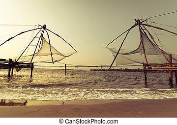 chino, redes, tropical, ocaso, pesca, playa