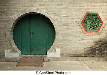 chino, redondo, puerta