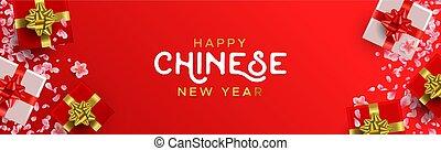 chino, regalos, año, nuevo, flores, bandera, rojo