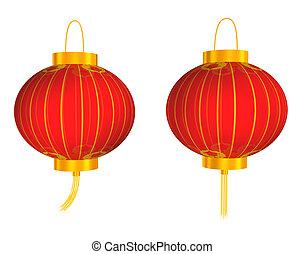 chino, rojo, linterna