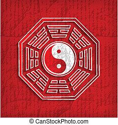 chino, símbolo, -, bagua, ilustración, vector, rojo