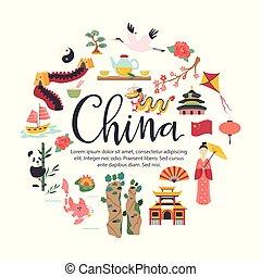 chino, símbolo, lugar famoso, arquitectura, señales